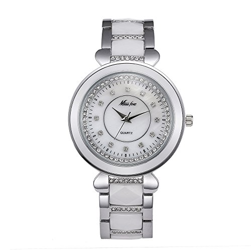 ne Ceramic Diamonds Waterproof Bracelet Dress Watch for Woman, 39mm (Date President White Gold Oyster)