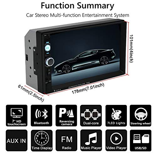 Double Din Car Stereo in-Dash Bluetooth Touch Screen 7 inch with Rear-View Camera,Video MP5/4/3 Player, Radio FM, Car Stereo Receiver, Support Steering Wheel Remote Control, Mirror Link, Caller ID by Yakalla (Image #1)
