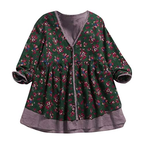 FEITONG Women Cotton Linen Double-Layer Fake Two Pieces V Neck Coat Blouse(L,Green)