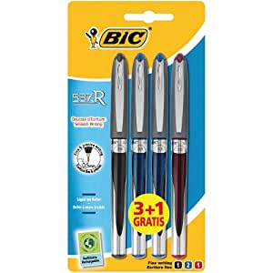 BiC 537r - Bolígrafo de tinta líquida (punta de aguja, 0,5 mm, colores surtidos, 4 unidades)