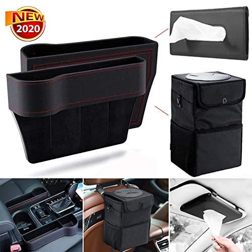 SmithCOCO 2 Pack Car Seat Gap Filler Black Premium PU Leather Seat Gap Filler, with Lid Foldable Waterproof Black Vehicle Trash Bin, Car Visor Tissue Holder