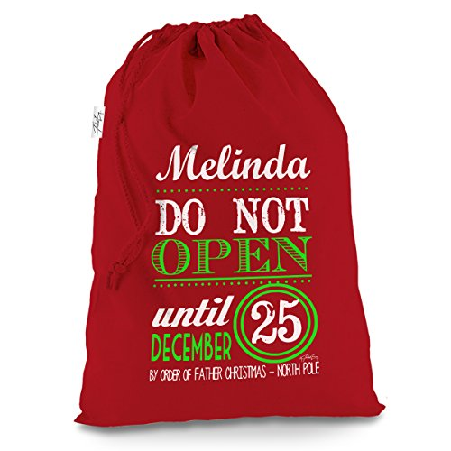 TWISTED ENVY Personalised Do Not Open Until Christmas X-Large Red Christmas Santa Sack Mail Post Bag