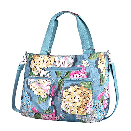 for Purse Blue Water Zipper Crossbody Pocket Bags Women Polyester Resistant with Travel Lightweight Multiflora Lvtree Handbag Shoulder Rosa ExCvqZUnwx
