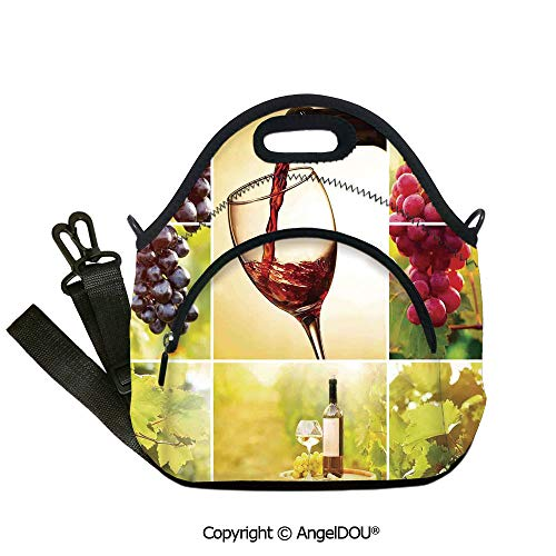 AngelDOU Wine waterproof insulation portable lunch box bag Habitat Collage with Pouring Wine Bottle and Leaves Farm Harvest Time in Autumn Village for Office School Travel - Maiden Collage