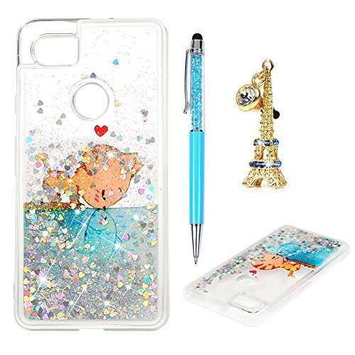 Price comparison product image Google Pixel 2 XL Cover, Google Pixel 2 XL Glitter Case Flowing Liquid Floating Moving Shiny Luxury Fashion Bling Sparkle Ultra Soft TPU Bumper Skin for Google Pixel 2 XL, Cat Fish