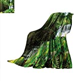 Waterfall Weave Pattern Blanket Spring Season Waterfall Hidden in Forest with Botanic Blossoms and Sunshine Summer Quilt Comforter 62''x60'' Green and White