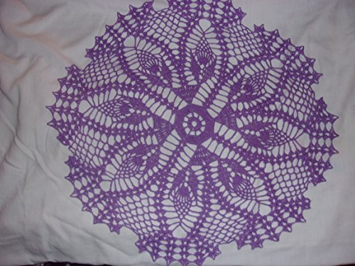 Handmade Lace Doily with Delicate Shell Edges, Lavendar Lace Centerpiece, Victorian Era Design, Flower Doily,18 inches
