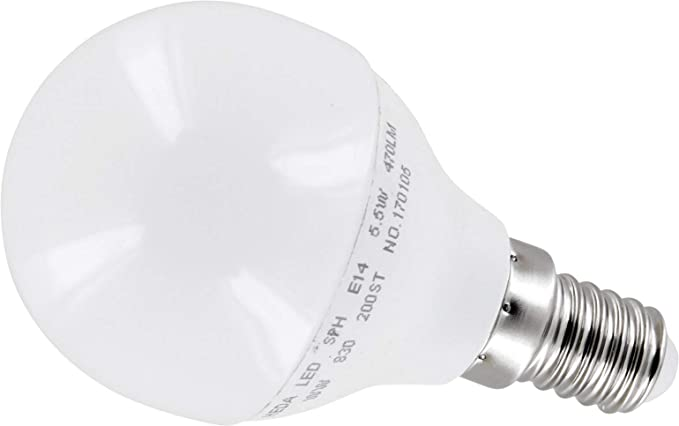 Bombilla LED mini, 6 W, E14, P45, mate, 200°,