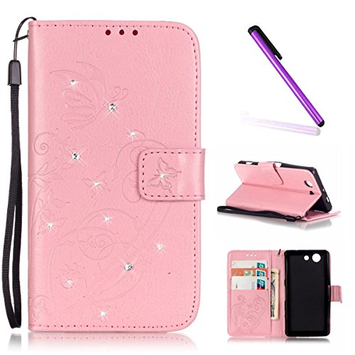 Sony Xperia Z3 Compact Hülle,Sony Xperia Z3 Compact Flip Tasche Grau PU Leder Wallet Brieftasche Schutzhülle für Sony Xperia Z3 Mini,Sony Xperia Z3 Mini Hülle Leder,Sony Xperia Z3 Compact Hülle Leder, Butterfly 3