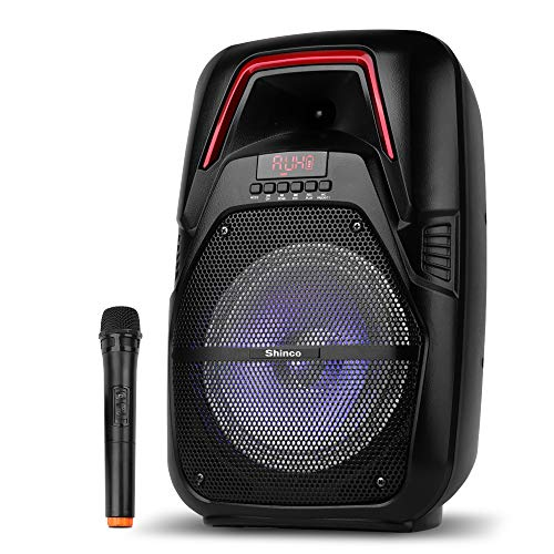 Shinco Portable PA Speaker System with wireless microphone, Bluetooth, AUX, USB/TF, FM Radio, Remote Control