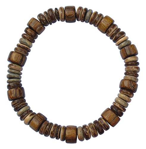 Coconut Bracelet Shell Stretch (Wood and Coconut Shell Beaded 8 Inch Stretch Bracelet)