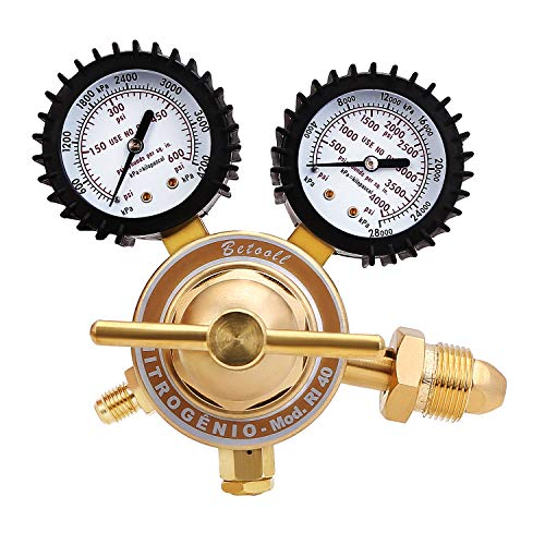 BETOOLL Nitrogen Regulator with 0-400 PSI Delivery Pressure Equipment Brass Inlet Outlet Connection Gauges - Flow Gauge Oxygen Regulators