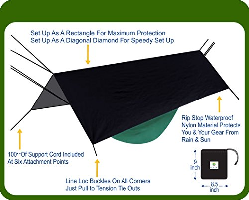 Hammock Bliss Extra Large Rain Fly - Waterproof Tent Tarp, Rain Fly and Hammock Shelter To Cover Your Hammock & Your Gear – Massive Coverage To Make Hammock Camping A Dry Rain Free Experience by Hammock Bliss