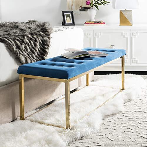 Safavieh FOX6225G Home Collection Reynolds Bench, Navy/Brass