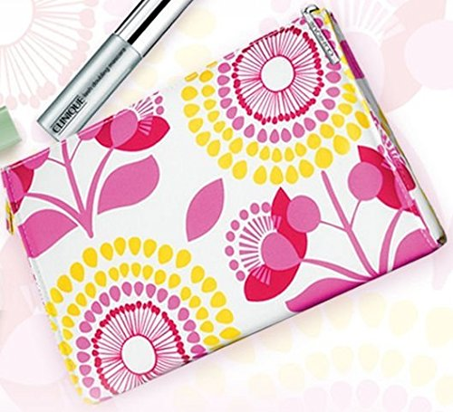 Clinique Retro Flowers Cosmetic Make Up Travel Hand Bag Clinique Eye Lip Gloss