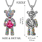 Swarovski Necklace for Daughter, J.NINA Teddy Bear Princess Ruby Birthstone Pendant Jewelry with Swarovski Crystals Birthday Anniversary Gifts for Women Girfriend Wife Granddaughter Girls