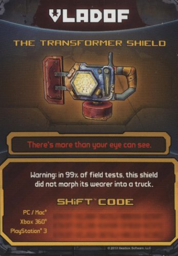 Review Borderlands 2 The Transformer Shield DLC CARD SHIFT CODES PACK [NO GAME] FOR XBOX 360, PS3, & PC/MAC