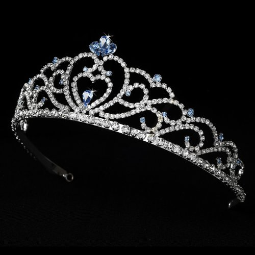 Aine Regal Rhinestone Heart Princess in Silver with Light Blue Accents Quinceanera Sweet 15 Tiara