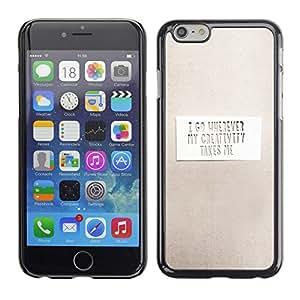 TopCaseStore / la caja del caucho duro de la cubierta de protección de la piel - Paper Grey Inspiring Message Clean White - Apple iPhone 6