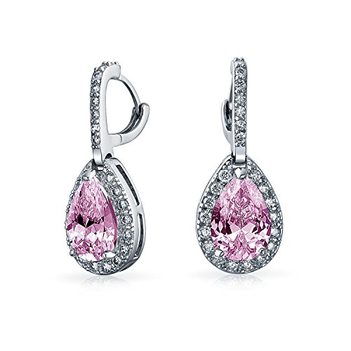 Simulated Pink Topaz CZ Teardrop Pave Dangle Earrings Rhodium Plated Brass
