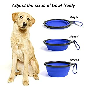 Collapsible Pet Bowls, Silicone Travel Dog Bowl Food Dish Water Feeder Foldable Bowls for Large & Medium Dogs with Carabiner Clip, Set of 2, by Vizpet 93