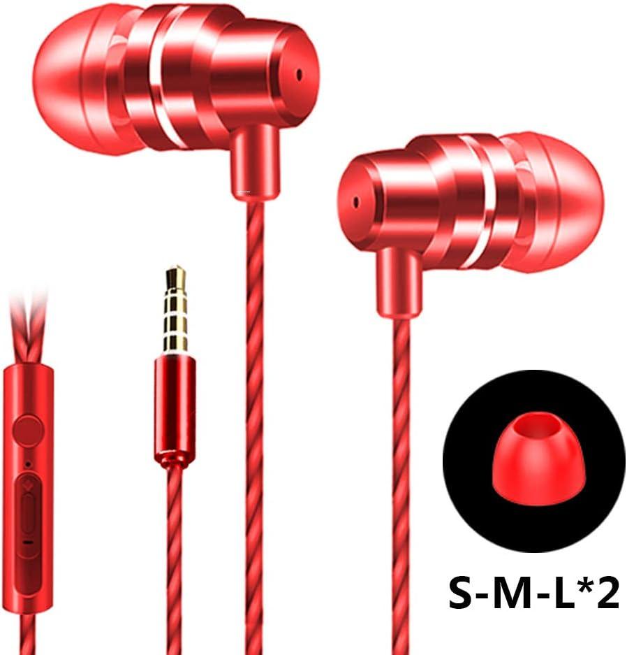 【収納袋付】イヤホン 有線 カナル型  3.5mm  (レッド)