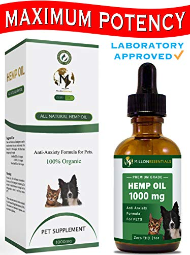Hemp Oil for Dogs and Cats - 1000 mg / 250 mg - 100% Organic Hemp Extract for Pets - Supports Anxiety Relief, Hips & Joint Pain, Arthritis, Allergy, Seizures, Inflammation, Immune System Aid (1000 mg)