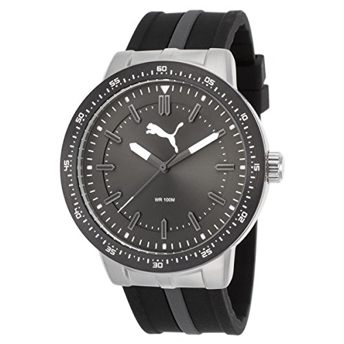 Puma PU104131004 Men's Roadmap Gunmetal Dial Black & Grey Rubber Strap Watch