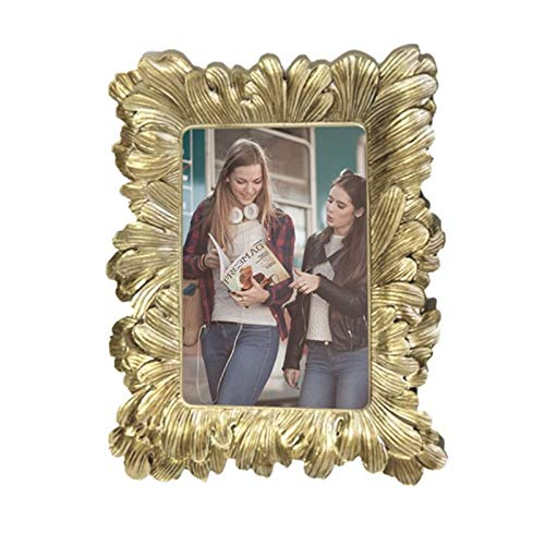 4x6 Gold Picture Frame, BeneCharm Luxury Vintage Photo Frame with Glass Front Antique Wall Hanging & Tabletop Home Decor with Gold Feather Embossed Flower for Wedding Photo Display Wall Art