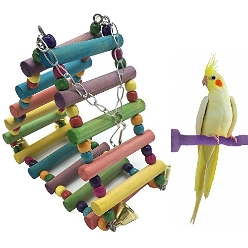Borange Bird Toys Parrot Ladder Cockatiel Wooden Bridge Colorful Hanging Toy Flexible Swings Climb Cage Accessories for Small and Medium Birds Parakeet Budgie Conure by Borange