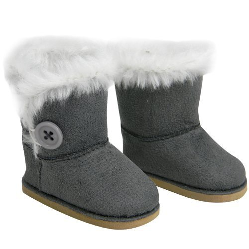 Stylish 18 Inch Doll Boots Fits 18 Inch American Girl Dolls & More! Sophia's Doll Shoes of Gray Suede Style Boots W/ Button & White Fur by My Doll's Life