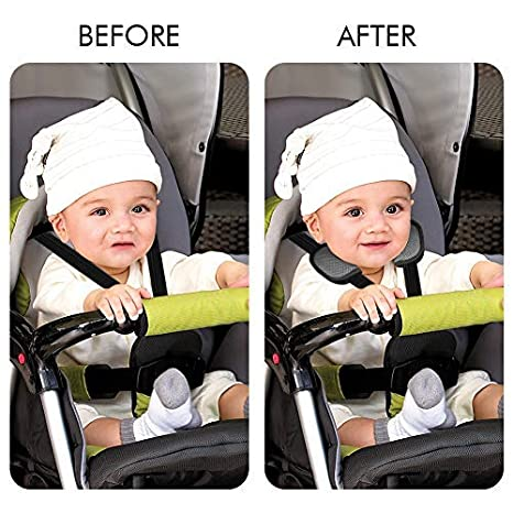 Accmor Baby Car Seat Strap Covers Baby Shoulder Pads Car Seat Strap Pads Baby Head Support Stroller Belt Covers Baby Seat Belt Covers Soft Warm Gray