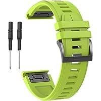 Correa de silicona de repuesto de 26 mm, correa de reloj de goma de liberación rápida con herramienta, correas deportivas de silicona suave, compatible con Garmin Fenix 5X Fenix 5X Plus Fenix 3 Fenix 3 HR Garmin D2