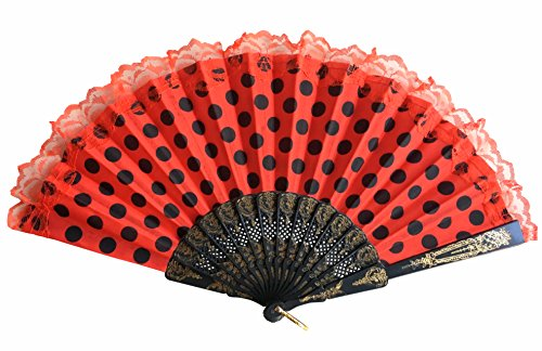 La Senorita Spanish Flamenco Fan red black dots lace Hand Fan Dress costume (Spanish Dots)