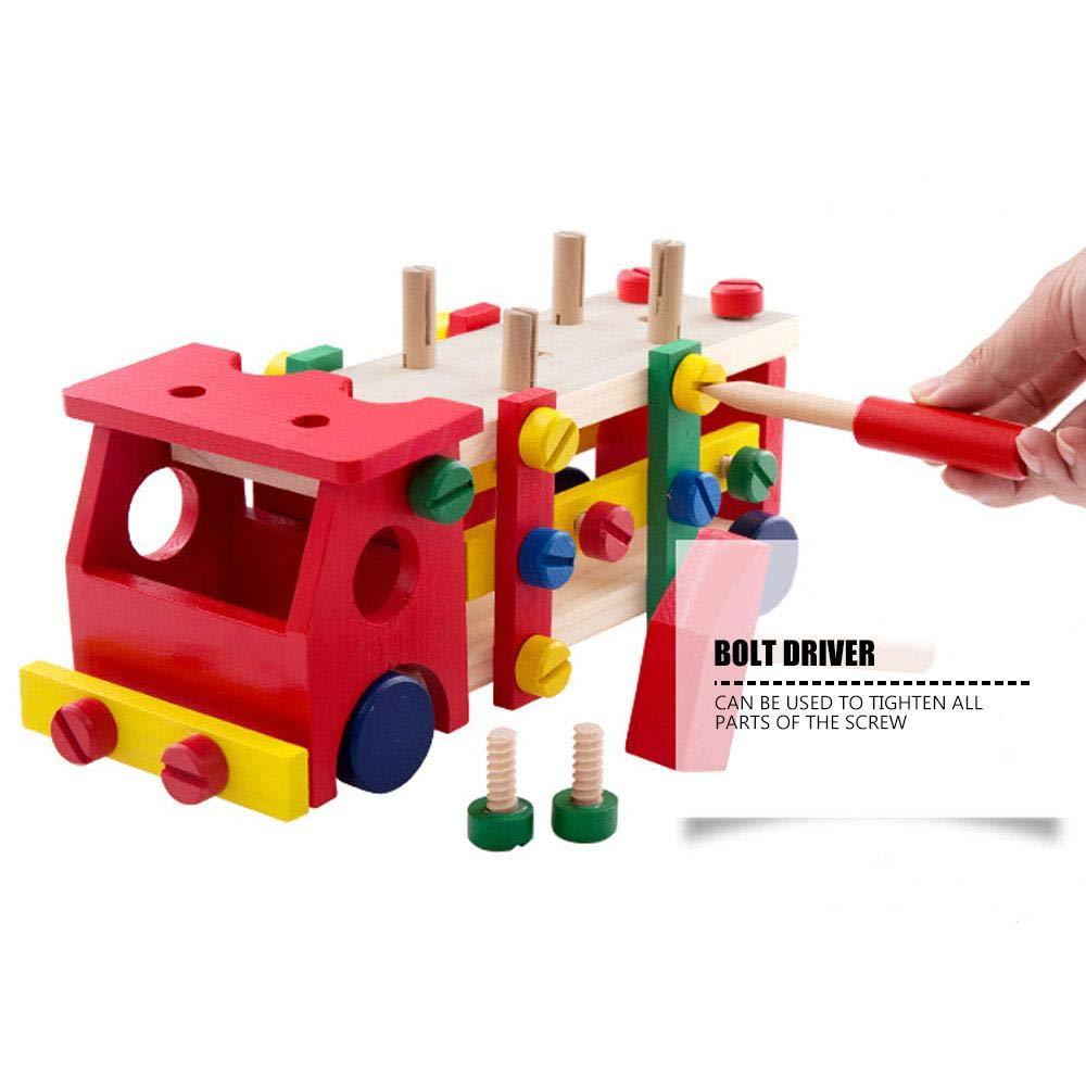 Tournevis Marteau et bo/îte Cadeau Jouets Marteau Puzzle Voiture en Bois Blocs Assembler des Jouets de Voiture Enfants Outil de Construction Jeu de Marteau avec vis