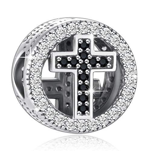925 Sterling Silver CZ Cross Charms With God All Things Are Possible Fit European Snake Bracelets