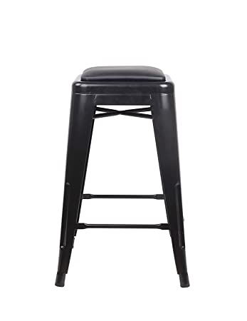GIA Toolix Backless Stool with Faux Leather Seat, Black Black, 24-Inch