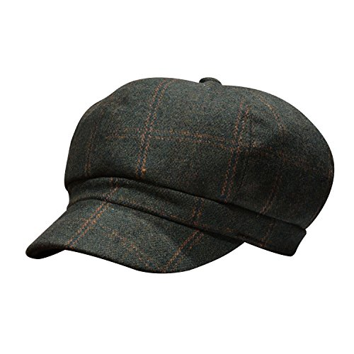 Luxspire Women's Casual Classic Retro Plaid Octagonal Cap Winter French Style Beret Newsboy Hat, Dark (Plaid Vintage Hat)