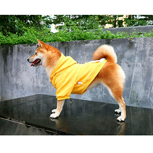 iChoue Pets Dog Clothes Hoodie Hooded French Bulldog Costume Pullover Cotton Winter Warm Coat Puppy Corgi Clothing - Yellow/Size M by iChoue (Image #3)'