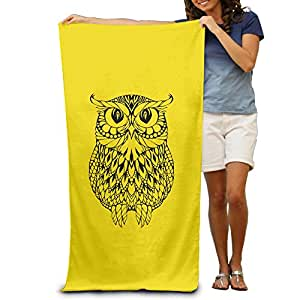 Tattoo Simple Strokes Owl Beach Towel Beach Blanket For Adult -- Cool Graphic Travel Bath Towel -- Size:80cm*130cm -- Microfiber:Super Absorbent -- Thin,lightweight,quick Dry,convenient