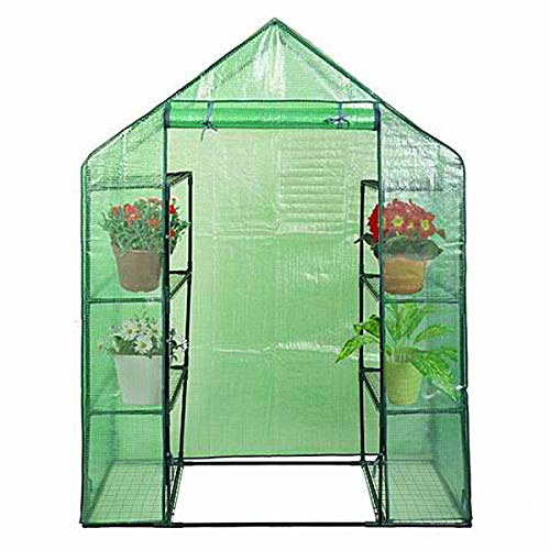 Goplus Green House Walk in Plant Gardening Greenhouse Plastic 4-Tier 8 Shelves for Indoor Outdoor, 4.9′ x 2.5'x 6.4′