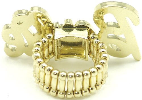 Nicki Minaj Barbie Iced Out Stretch Band Ring Gold With Gold Lips