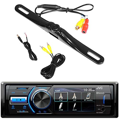 Marine Motorsports Bluetooth USB AUX AM/FM Single DIN Digital Media Stereo Receiver with Rear View Cam Input and Independent Camera Key, Pyle License Plate Mount Backup Camera (Sports Camera Jvc)