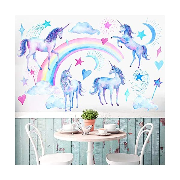 HAOLEJIA Beautiful Kids' Bedroom Unicorn Wall Sticker Decal,3D Art Decal Sticker for Child Room Wall Decoration 9