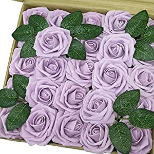 J-Rijzen Jing-Rise Artificial Flowers 50pcs Real Touch Lilac Foam Roses with Stem for Bridal Shower Centerpieces Birthday Party Arrangements Wedding Bouquet Home Decorations (Lilac) 108