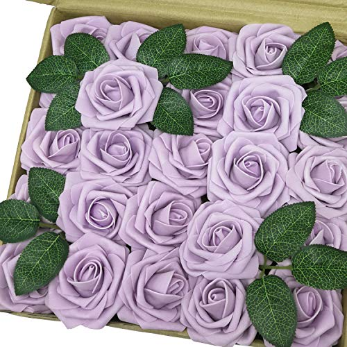 - J-Rijzen Jing-Rise Artificial Flowers 50pcs Real Touch Lilac Foam Roses with Stem for Bridal Shower Centerpieces Birthday Party Arrangements Wedding Bouquet Home Decorations (Lilac)