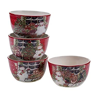 Snowman's Sleigh Ice Cream Bowls Set of 4