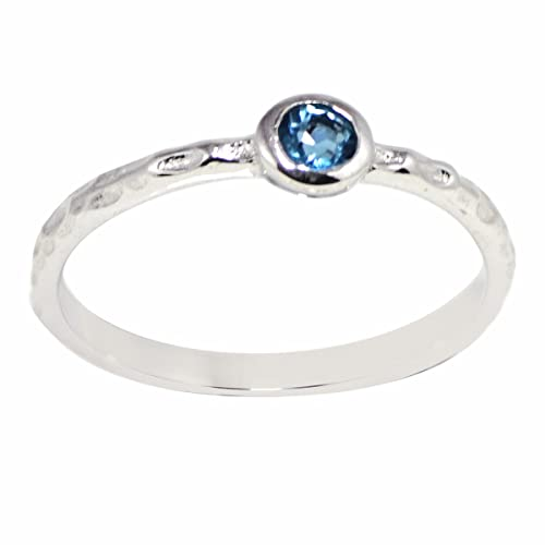 Shine Jewel Topacio Azul Piedra Mujer Solitario Anillos de Boda ...