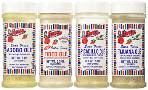 Bolner's Fiesta Extra Fancy Mexican Seasoning 4 Flavor Variety Bundle: (1) Adobo Ole' Mexican Style Season-It-All, (1) Tijuana Ole' Steak Al Carbon Seasoning, (1) Picadillo Ole' Mexican Meat And Potatoes ()