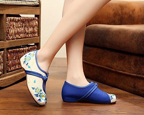 GXS Zapatos bordados, lenguado de tendón, estilo étnico, hembrashoes, moda, cómodo, zapatos de baile , white , 38 White
